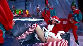 Scrumptious brunette classis chassis Daphne Rosen enjoys when three Christmas Elves squidge her with their tools 26 min