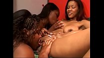 Ebony lesbian trio eat pussies and ride strapon indoors 25 min