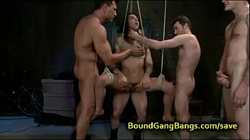 Tied up babe suspended orgy fucked 7 min