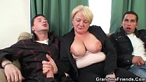 Two buddy fuck busty old lady