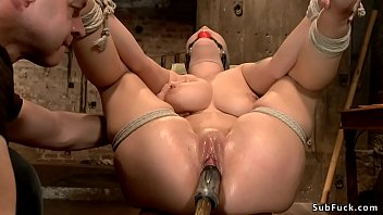 Busty slave spanked and fucked on hogtie