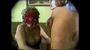 Old masked granny having fun