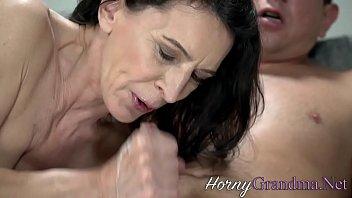 Slutty grandma with small tits sucks cock 6 min