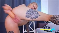 Horny tattooed BongaCams blonde pounds her amazing pussy