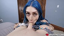 Stepsis Jewelz Blu gets turned on and horny and grabs stepbros cock and fucks him with her thighs