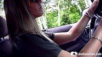 Sensational stepmom has her feet recorded while driving