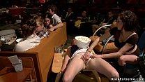 Blonde sucking cocks in public theater