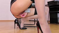 Horny employee masturbating pussy and clit in high heels and stockings in the office  | kate.hot4cams.com