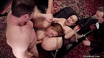 Two anal slaves bang in bdsm party