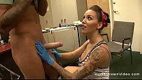 Beautiful big tit tattoo artist getting fucked