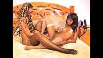 Couple of amazing black babes Yazmene Fine and Vivica J. Coxx lick their twat and penetrate with strapon