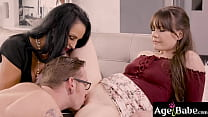 Sexy grandma Rita Daniels is excited to meet her grand dauthers boyfriend. She welcomes him by starting a hot family threesome fuck.