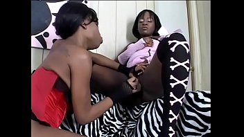 Hot black girls in sexy lingerie Ms Coco with Pipe-her Down lick and toy each other's tight pussies 33 min