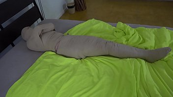 Blue haired Teen girl put in mummification 36 min