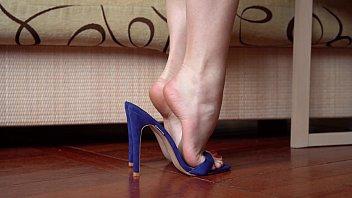 Feet In High Heels Closeup, Dangling And Dipping 2 min