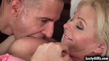 Hot blonde  granny Franny enjoys every moment with her lover Toby. takes his big hard cock deep down her tight pussy and rides it until orgasm.