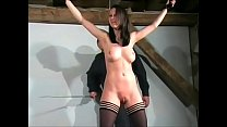 Slim slave girl Emily Sharpes tied pussy whipping and breast spanking