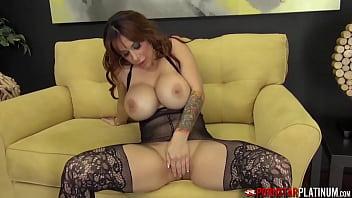 PORNSTARPLATINUM Busty MILF Alyssa Lynn Solo In Stockings 9 min