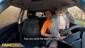 Fake Driving School Blonde Marilyn Sugar in Black Stockings Sex in Car 12 min