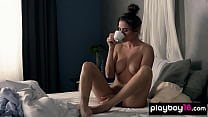 Classy MILF teasing and caressing her perfect pussy