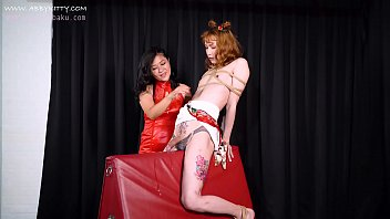 AB026 Mistress Maya training crossdresser Abby Kitty use three vibratior make her big cum ,nose hook,mouth gag ,wooden pony,anal plug -hardcore