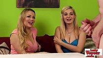 Stockinged UK voyeurs tease their wanking sub