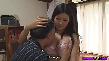 japanese girl takes care of a grandpa