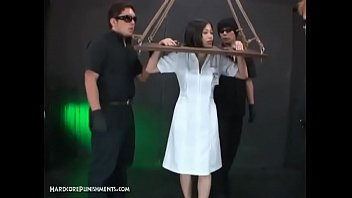 Horny Asian Submissive Bound In Wooden Stocks And Dominated 8 min