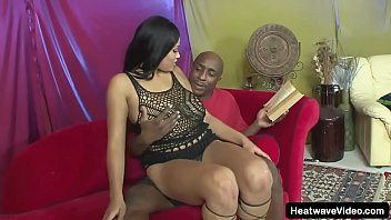 Busty ebony licks balls and then gets pussy reamed by a big black cock