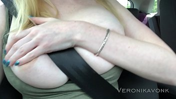 Naughty blonde fingering along the highway 6 min