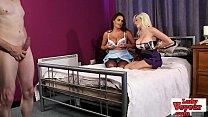 Busty UK voyeur babes strip for tugging guy