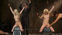 Blonde lesbians in live show tormenting 5 min