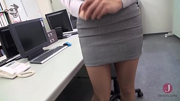 Beautiful Japanese sucks boss cock and get cum mouthed in the office
