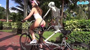 CamSoda - Riding my dildo and masturbating to orgasm in public on my skeleton bike