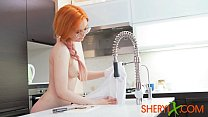 Sheryl X - Redhead girl sexually eating watermelon and playing with a toy 6 min