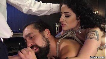 Busty femdom gangbang man slave