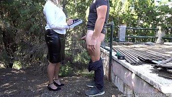 Strict Teacher Huge Cumshot Over Black Leather Skirt - YummyCouple.com