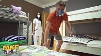 Fake Hostel Threesome with Redhead and Latina Nurses 11 min