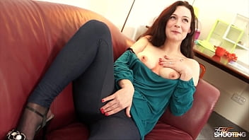 Shy brunette surprise with sexy lingerie and took hard dick bravely letting him cum on tits 30 min