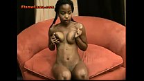 Petite ebony amateur in pigtails teases with her hot body 5 min