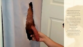 Watch me suck and swallow this hot muscled hairy straight man at my gloryhole curtain