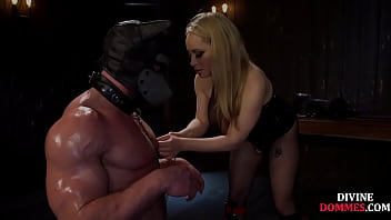 Busty fishnet domme fingering and jerking sub