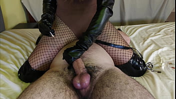 Slave Gets Teased, Edged & Ruined By Leather Mistress In Fishnets