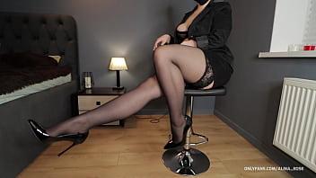 School teacher handjob in stockings high heels naughty student 10 min