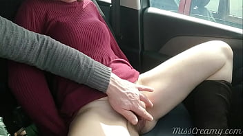 My student fingered his teacher wet pussy inside car on our way home from school - MissCreamy 6 min
