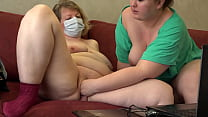 Mature chubby lesbians in front of a webcam show vaginal fisting and masturbation with a dildo Homemade fetish, shaved pussy and juicy PAWG doggy style