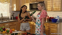 Tiffany Watson having lesbian sex with kinky Jada Kai and a cucumber