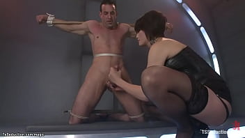 Asian TS domme anal fucks bound man