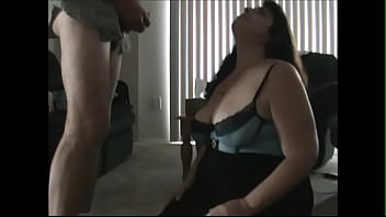 My BBW Slave Slut in Lingerie Sucks My Cock to Completion