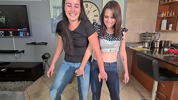 Two piss sluts soaking and wetting their jeans with pee and starts getting undressed afterwards